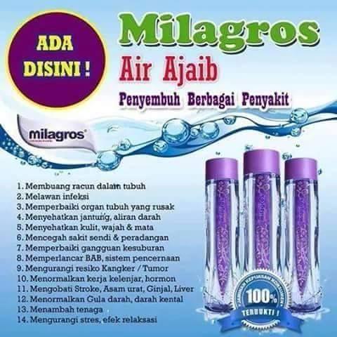 Milagros, miracle inside..air ajaib untuk mengatasi masalah kesehatan anda... more info www.milagros.co.id