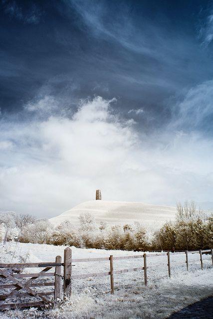Snow on the Tor, Glastonbury, England