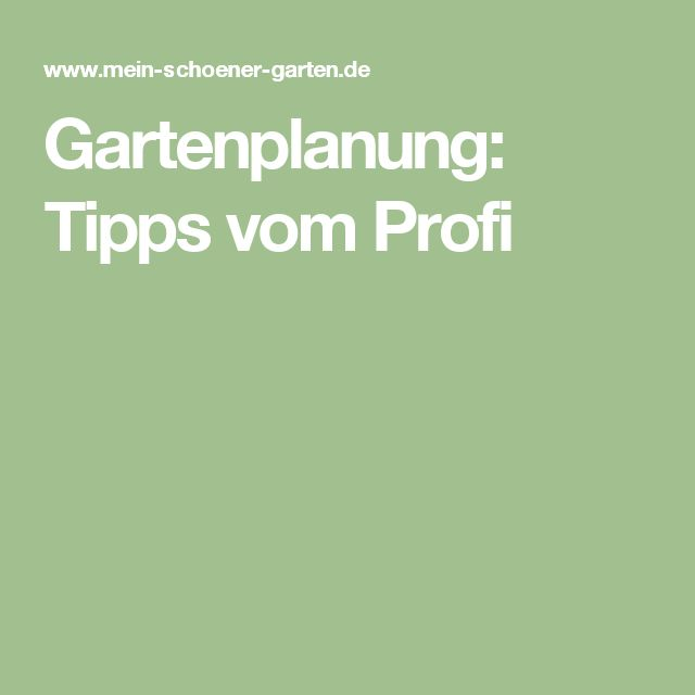 Gartenplanung: Tipps vom Profi