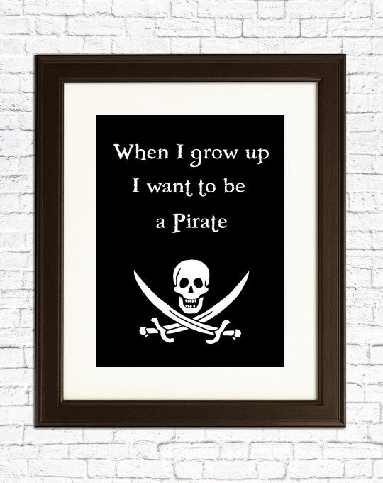 BOY BIRTHDAY GIFT - When I grow up I want to be a Pirate - Baby shower, boy's birthday, girl's birthday or decoration for a child's room.. $22.00, via Etsy.