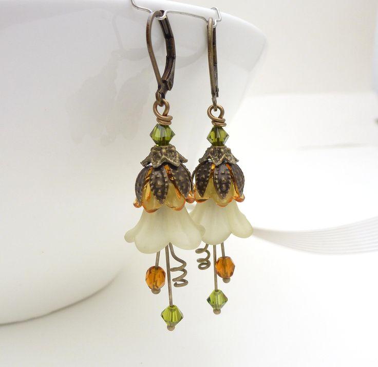 Green brown earrings, green flower jewelry, autumn brown green dangle earrings, brown lucite flower earrings, mustard, olive, beaded jewelry, via Etsy.