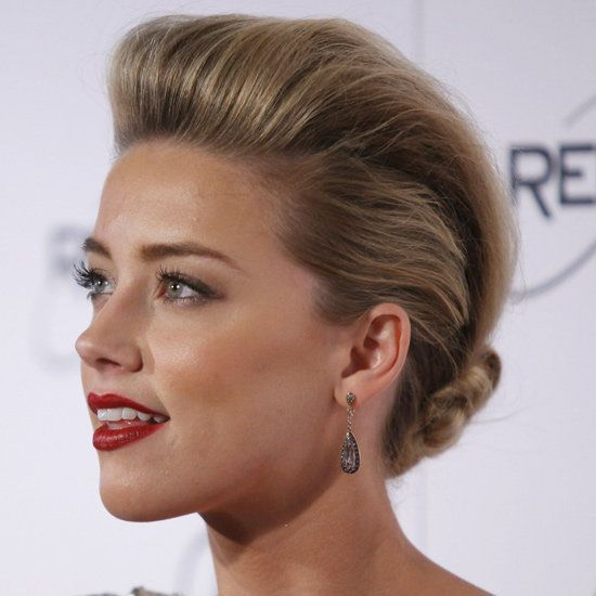 Red carpet hairstyle. updo - Amber Heard. Celebrity hairstyle.