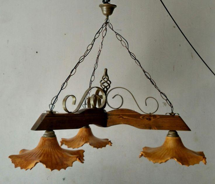 Lampadario rustico  ferro legno terracotta col. noce scuro/ bronzo antico