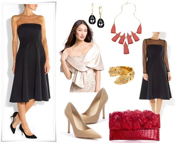Simple Black Wedding Guest Outfit for Winter