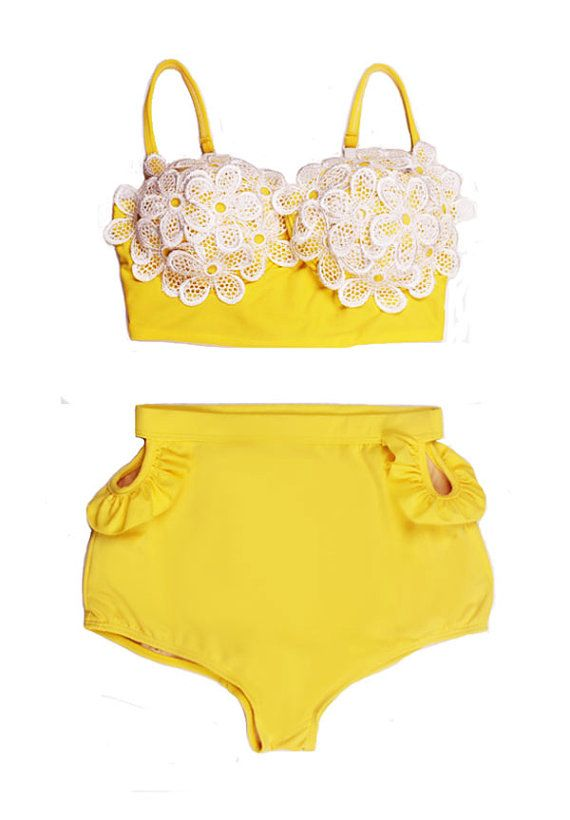 Yellow Flora Flower Top and High Waisted Waist High-waist High-waisted Swimsuit Swimwear Bikini Two piece Bathing suit suits Beachwear S M