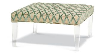 Sandestin Ottoman: Lucite legs lend a floating effect on the Sandestin Ottoman, which is upholstered in a citrine and aquamarine print fabric. Taylor King:   200 Steele 3rd floor#HPmkt