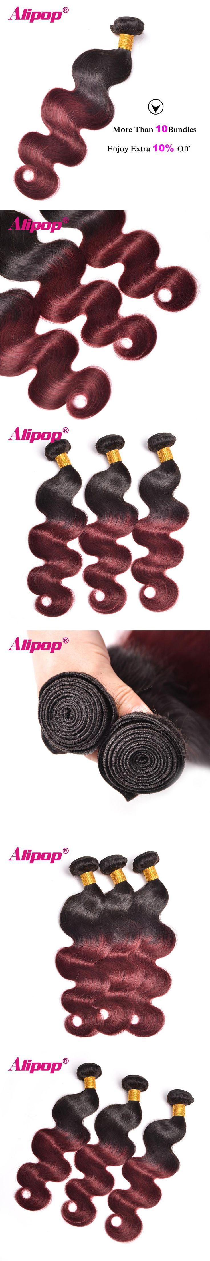 ALIPOP Ombre Brazilian Body Wave Hair Weave Bundles 1B/99J Burgundy Two Tone Human Hair Bundles Non Remy Hair Extensions