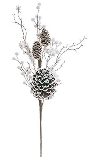 Felices Pascuas Collection 22.5 inch White & Brown Glitter Frosted Twig and Pine Cone Floral Christmas Spray