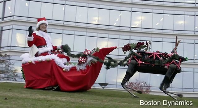 The folks over at Boston Dynamics, a Google X company, shows their robots acting as reindeer and pulled a Santa in a sled across the lawn.  Too bad there isn't any snow there now.  The world we live i