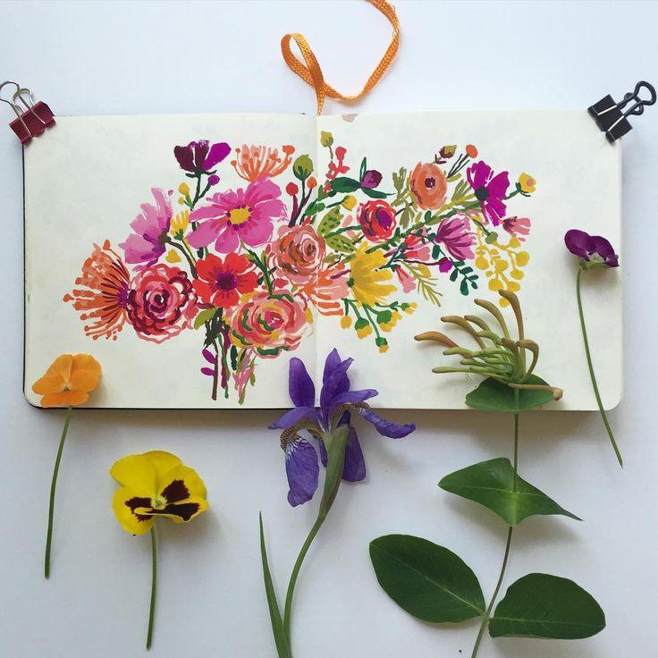 carolyn gavin. Double page sketchbook entry. #carolyngavinsketchbook #gouache…