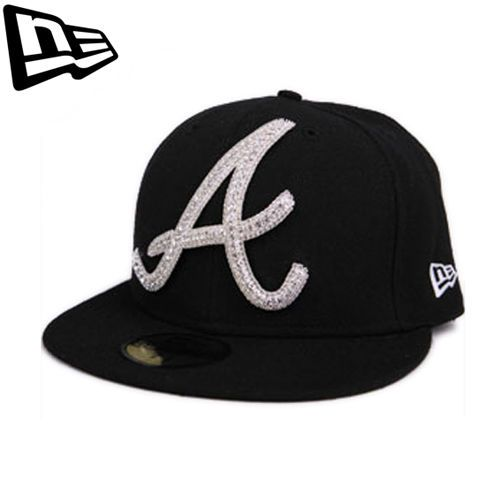 59FIFTY NEW ERA Atlanta Braves Black Big One Iced Up Swarovski Collabo Limited #Fashion #Style #Deal