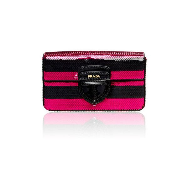 Prada Striped Paillettes Clutch ❤ liked on Polyvore featuring bags, handbags, clutches, prada, borse, pink, pink clutches, prada clutches, prada purses and pink purse