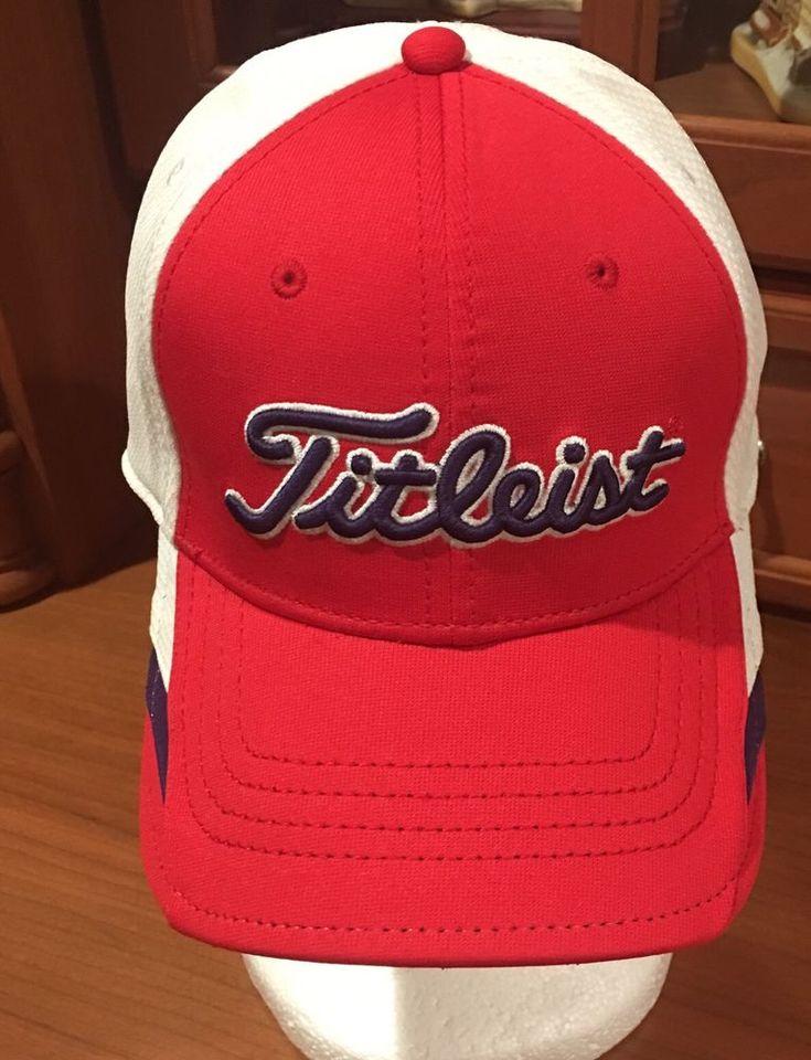 Titleist Golf Clubs Red Blue White Baseball Hat Cap Flex Fitted S / M #Titleist #BaseballCap