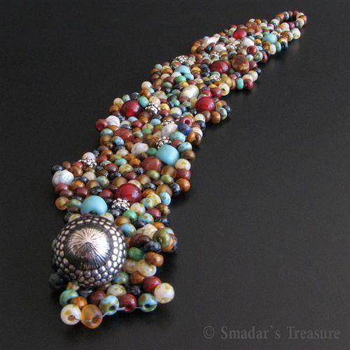 Colorful Freeform Peyote Bracelet by Smadar's Treasure, via Flickr