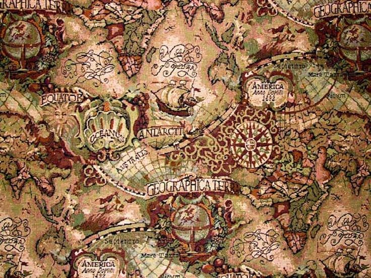 world map tapestry fabric