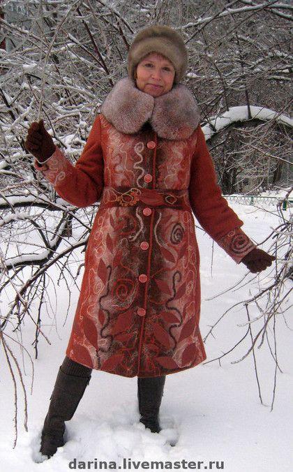 """Верхняя одежда ручной работы. Заказать пальто валяное из войлока """"Красные листья"""". ДАРИНА  Авторская одежда из войлока. Ярмарка Мастеров."""