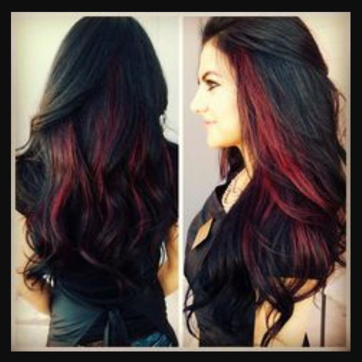 Black Hair With Red Streaks Hair Nails Cosmetics And