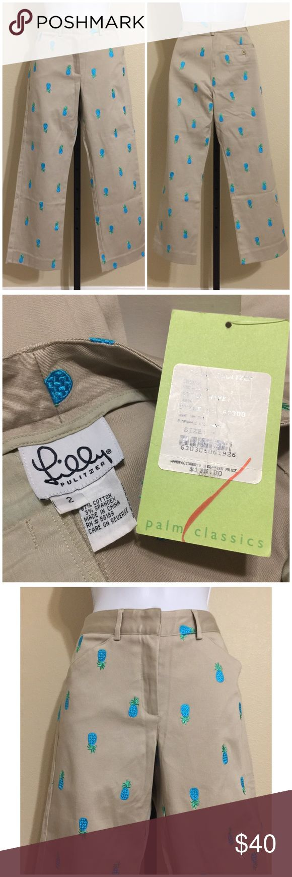 Lilly Pulitzer Megan Cropped Pants Size 2 • Lilly Pulitzer • Women's Capris, Cropped Pants • Size 2 • Tan Pineapple Megan Style • Embroidered Pineapple Design In Blue &            Green Colors • Zip Front • 1 Hidden Metal Clasp Closure • 2 Front Pockets • 1 Rear Pocket With Button Closure • Belt Loops • Stretch • Machine Washable • 97% Cotton 3% Spandex • Inseam Approx. 24 Inches • Rise Approx. 9.5 Inches • Waist Approx. 27 Inches • Hips Approx. 34 Inches • Cuff Approx. 15 Inches • MSRP $…