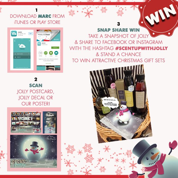 ★ WIN Attractive Mt Sapola Christmas Gift Sets ★  Stand a chance to win Limited Edition Mt. Sapola Gift Sets with 3 simple steps!  Step 1: Download MARC from iTunes or Play Store  Step 2: Using MARC, go to any of our boutiques to scan either the Poster, Postcard or Jolly Decal!   Step 3: Take a snapshot of Jolly using MARC & share to Facebook or Instagram with the hashtag #scentupwithjolly :)  Have Fun & Be Creative!