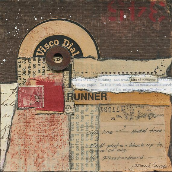 """The words """"bits of nonsense"""" from a piece of book paper stand out in this original handmade mixed-media abstract collage. It is truly made from bits and pieces of found papers and objects. The elements include the fabric from book covers, text from an old manuscript, an old"""