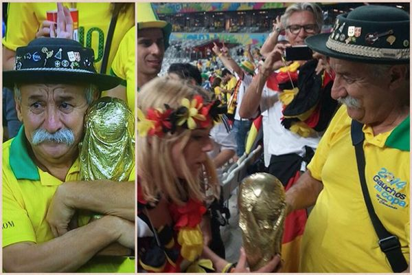 The Saddest Man In Brazil Actually Gave His World Cup Trophy To A German Fan (Photo)