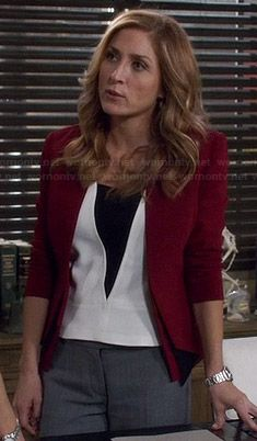 Maura�s white top with black triangle and burgundy blazer on Rizzoli and Isles.  Outfit Details: http://wornontv.net/34964/ #RizzoliandIsles