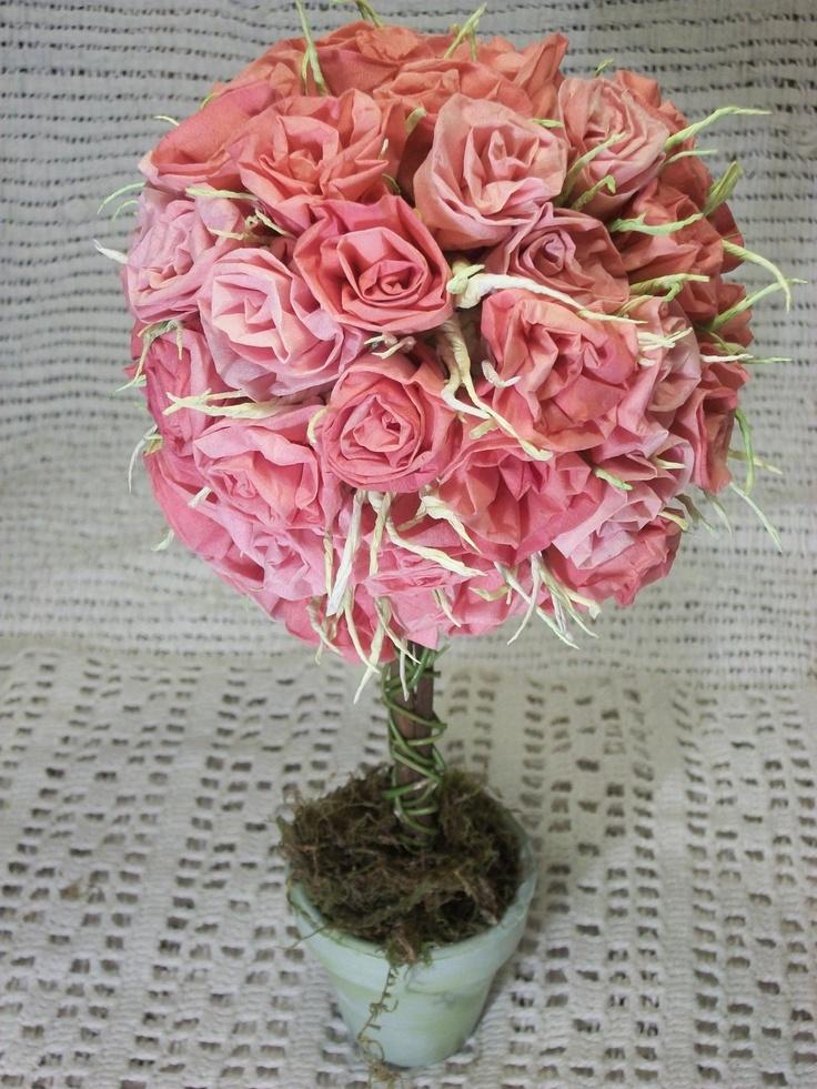 topiario de rosas. Papel tisu