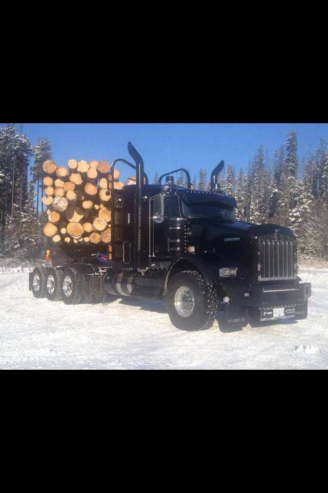 Black KW log truck