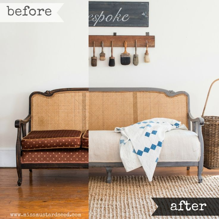 caned sofa makeover | miss mustard seed