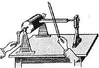 1807 Première machine à écrire des waves avant le phonautographe. Thomas YOUNG, savant anglais, invente un dispositif qui enregistre les vibrations d'un diapason à la surface d'un cylindre rotatif enduit de noir de fumée. Ce principe devait permettre l'inscription et l'analyse des sons. (correspond donc aux premiers enregistrements du son mais juste du diapason)
