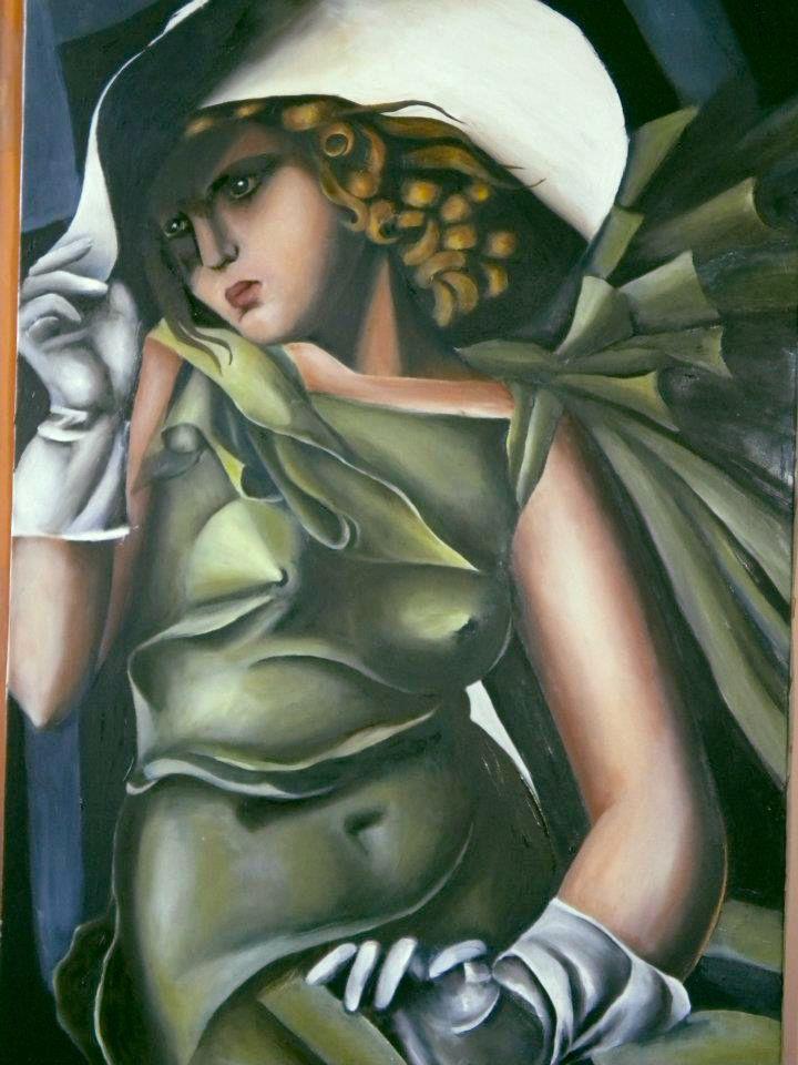 """Riproduzione ad olio su tela di un'opera di Tamara de Lempicka """"Jeune Fille en vert"""""""