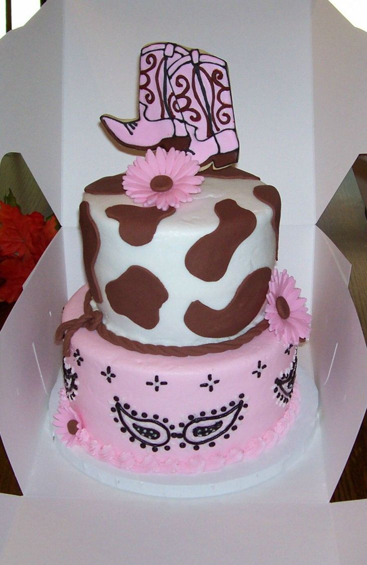 Dallas cowboys birthday cake ideas and designs - Cowgirl Birthday Cake 8 And 6 Cake Covered In Bc Brown Cow Spots Are Modeling Chocolate Fondant Gerber Daisies And Cowboy Boots Cookie Topper