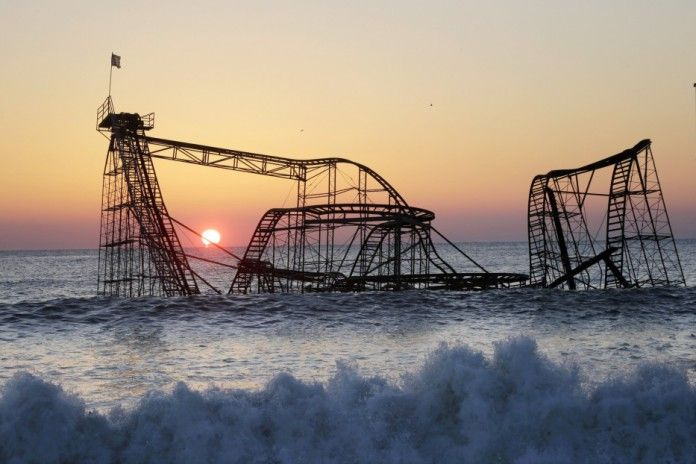 Jet Star Rollercoaster, Seaside Heights, New Jersey - a victim of Hurricane Sandy in 2012. The coaster has been rebuilt on higher ground.