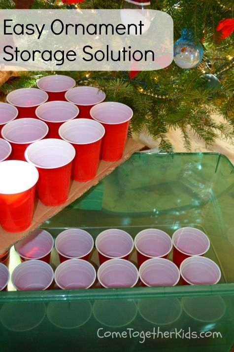 Christmas Ornament Storage Idea ~ using plastic Cups and cardboard