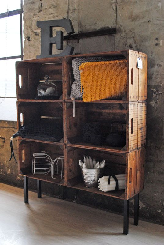 DIY  idea:  Wine crates with legs added on the bottom.