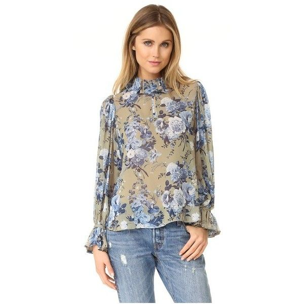 Robert Rodriguez Floral Bouquet Ruffle Collar Blouse ($300) ❤ liked on Polyvore featuring tops, blouses, stone floral, brown blouse, ruffle blouse, floral print blouse, chiffon blouse and chiffon tops