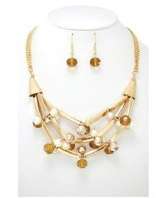 Necklace SET! Gold Flutes & Pearls with Earrings!