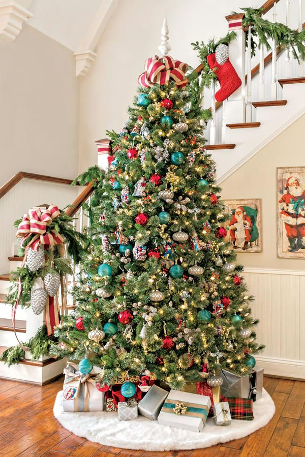 17 best images about christmas decorating on pinterest Christmas tree ribbon garland