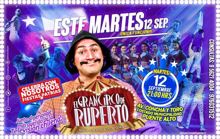 Este Martes!!12 de Septiembre!! única función 21:00 hrs!! te esperamos!! para que te diviertas en grande!! te esperamos a un costado de la Municipalidad de Puente Alto. QUE NO TE LO CUENTEN!!!🍿😎🤣🤣 Venta de entradas en las Boleterías del Circo.