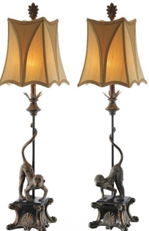 Italian Monkey Table Lamps Set Of 2 Indoor Lighting Fixture Home Office Decor #tablelamp