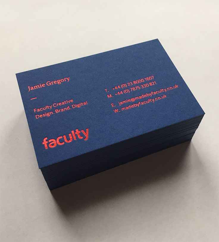 Faculty Creative business cards. GF Smith Colourplan 540gsm Letterpress Red Foil