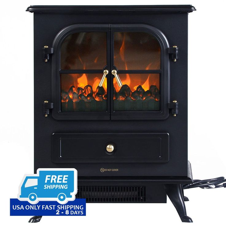 1500W Electric Free Standing Fireplace Heater with 2 Doors!