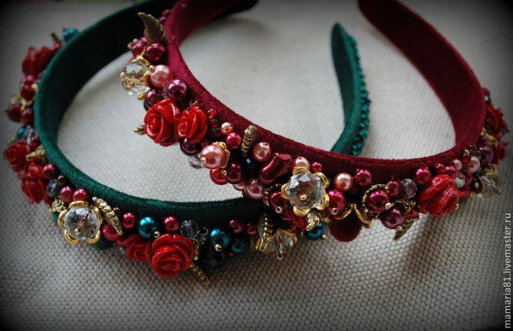 """Купить Ободок с камнями в стиле Дольче """" Дикая орхидея"""" - бордовый, красный, ободок"""