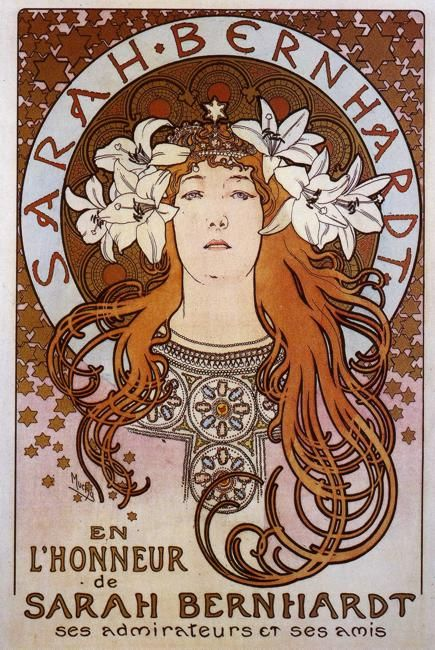"I don't know if they were ever ""romantically involved"" or not, but Mucha and Bernhardt were sort of muses to each other - some of his finest work was inspired by her, and his posters enhanced her career."