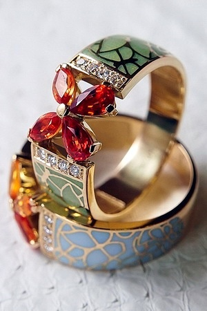 ICHIEN Multi-color enamel, crystals, topazes, gold | jewelry
