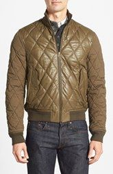 Burberry Brit 'Ragleigh' Trim Fit Diamond Quilted Lambskin Leather Bomber Jacket