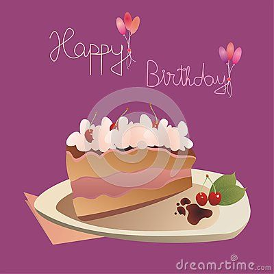#birthday #card with a slice of #cake (with cherries) on a plate and with the message: Happy Birthday.