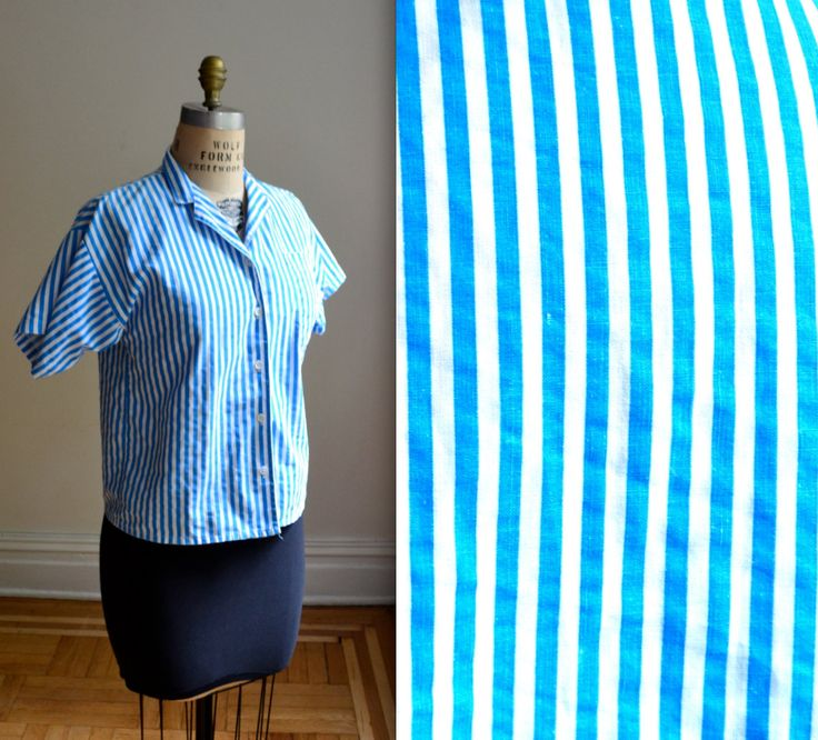 Vintage White and Blue Striped Shirt// 80s Striped Shirt Blouse Button Down Cotton Shirt Size Medium by Hookedonhoney on Etsy