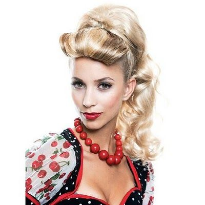Maybe the high ponytail but maybe with a victory roll or two instead of the rolled under bangs.