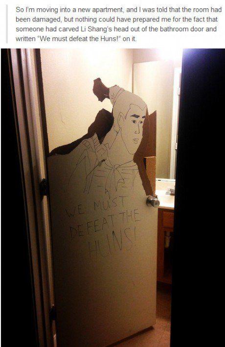 The bathroom had been damaged